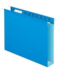 Extra Capacity Reinforced Hanging Folder with Box Bottom, Letter, Blue