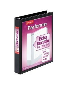 "Cardinal® Performer™ ClearVue™ Binder, Non-Locking Slant-D® Rings, ClearVue™ Covers, 1"", 240-Sheet Capacity, Black"