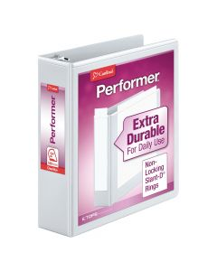 "Cardinal® Performer™ ClearVue™ Binder, Non-Locking Slant-D® Rings, ClearVue™ Covers, 2"", 540-Sheet Capacity, White"