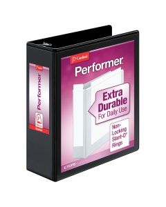 "Cardinal® Performer™ ClearVue™ Binder, Non-Locking Slant-D® Rings, ClearVue™ Covers, 3"", 725-Sheet Capacity, Black"