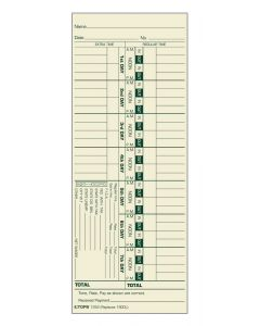 Time Card, Weekly, Manila, #1900L, Green Ink Front, Small pack, 100 CD/PK