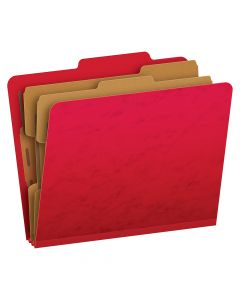 Pendaflex® Moisture-Resistant Color Classification Folders, Letter Size, 6 Section, Scarlet, 2/5 Cut, 10/BX