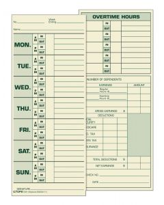 Time Card, weekly, manila, #L-61, #15-800622, green ink, 500 CD/BX