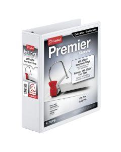 "Cardinal® Premier Easy Open® ClearVue™ Extra Wide Locking Slant-D® Ring Binder, 2"", White"