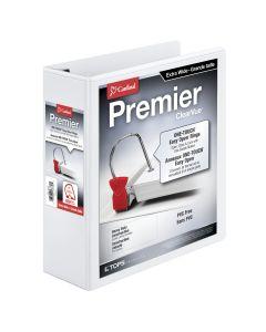 "Cardinal® Premier Easy Open® ClearVue™ Extra Wide Locking Slant-D® Ring Binder, 3"", White"