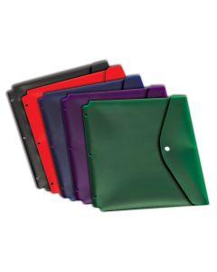 Dual Pocket Snap Envelope w/holes, Letter, 5 pk, Assorted