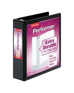 "Cardinal® Performer™ ClearVue™ Binder, Non-Locking Slant-D® Rings, ClearVue™ Covers, 2"", 540-Sheet Capacity, Black"