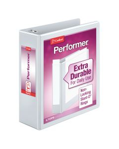 "Cardinal® Performer™ ClearVue™ Binder, Non-Locking Slant-D® Rings, ClearVue™ Covers, 3"", 725-Sheet Capacity, White"