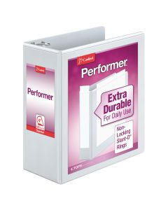 "Cardinal® Performer™ ClearVue™ Binder, Non-Locking Slant-D® Rings, ClearVue™ Covers, 4"", 835-Sheet Capacity, White"