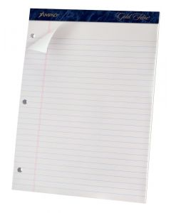Ampad® Gold Fibre™ Perforated Writing Pads, 3-hole punched, Micro-Perf, College Rule, 70 Shts per pad, Letter, White