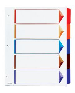 Oxford® Omni-Dex™ Colour-Coded Tab Dividers, 5 Tab, Assorted