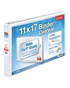 "Cardinal® ClearVue™ 11"" x 17"" Binder, Non-Locking Slant-D® Rings, 1.5"", 375-Sheet Capacity, Non-Stick, White"