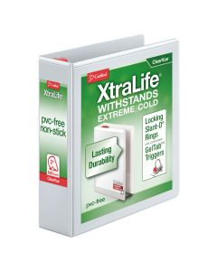 "Cardinal® XtraLife® ClearVue™ Binder, Locking Slant-D® Rings, 2"", White, Holds 540 Sheets"