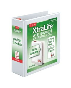 "Cardinal® XtraLife® ClearVue™ Binder, Locking Slant-D® Rings, 3"", White, Holds 725 Sheets"