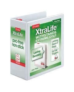 "Cardinal® XtraLife® ClearVue™ Binder, Locking Slant-D® Rings, 4"", White, Holds 890 Sheets"