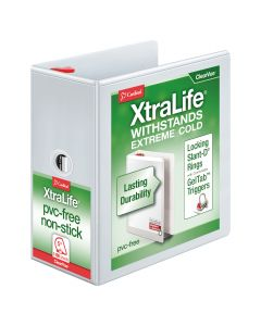 """Cardinal® XtraLife® ClearVue™ Binder, Locking Slant-D® Rings, 5"""" with Shelf Pull, White, Holds 1,100 Sheets"""
