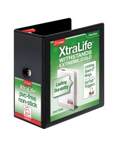 """Cardinal® XtraLife® ClearVue™ Binder, Locking Slant-D® Rings, 5"""" with Shelf Pull, Black, Holds 1,100 Sheets"""