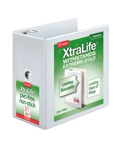 """Cardinal® XtraLife® ClearVue™ Binder, Locking Slant-D® Rings, 6"""" with Shelf Pull, White, Holds 1,300 Sheets"""