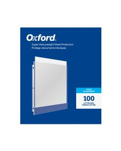 Oxford® Super Heavyweight Sheet Protectors, Clear Finish, Letter Size, Reinforced 3 Hole Punch, 100 per Box