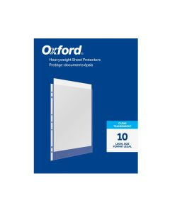 Oxford® Heavyweight Sheet Protectors, Clear Finish, Legal Size, Reinforced 7 Hole Punch, 10 per Pack