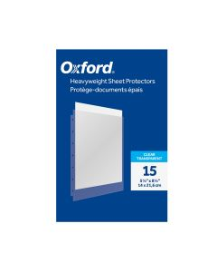 Oxford® Heavyweight Sheet Protectors, Mini Size, 5-1/2 x 8-1/2, Clear Finish, Reinforced 7-Hole Punch, For 5-1/2 x 8-1/2 paper, 15 per Pack