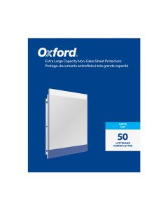 Oxford® Extra Large Capacity Non-Glare Sheet Protectors, Reinforced 3 Hole Punch, Matte Finish, 50 per Box