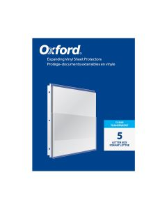"""Oxford® Expanding Vinyl Sheet Protectors, 1"""" Expansion, Reinforced 3 Hole Punch, Clear, 5 per Pack"""