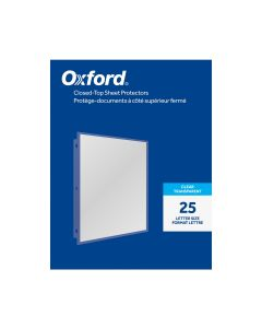 Oxford® Closed Top Sheet Protectors, Top Loading with Tuck-In Flap, Reinforced 3 Hole Punch, Clear, 25 per Pack