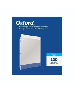 Oxford® Heavyweight Non-Glare Sheet Protectors, Matte Finish, Letter Size, Reinforced 3 Hole Punch, 100 per Box