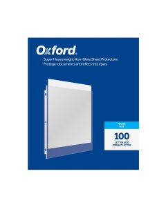 Oxford® Super Heavyweight Non-Glare Sheet Protectors, Matte Finish, Letter Size, Reinforced 3 Hole Punch, 100 per Box