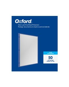 Oxford® Side-Load Vinyl Sheet Protectors, Clear Finish, Letter Size, Reinforced 3 Hole Punch, 50 per Box
