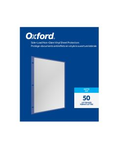 Oxford® Side-Load Non-Glare Vinyl Sheet Protectors, Matte Finish, Letter Size, Reinforced 3 Hole Punch, 50 per Box