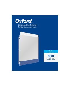 Oxford® Lightweight Sheet Protectors, Clear Finish, Letter Sized, Reinforced 3 hole Punch, 100 per Box