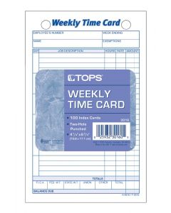 Time Card, Weekly, White Index Bristol, 100 CD/PK