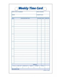 Time Card, Weekly, White Index Bristol, 100 CD/PK