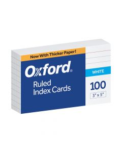 "Oxford® Ruled Index Cards, 3"" x 5"", White, 100 Per Pack"