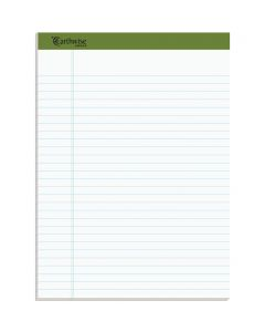 "Earthwise® by Ampad® 100% Recycled Writing Pad, 8.5"" x 11.75"", Wide Rule, White, 50 SH/PD, 4 PD/PK"