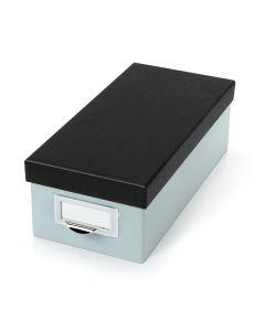"""Oxford® Index Card Storage Box, 3"""" x 5"""", Blue Fog, Black Lid"""
