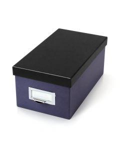 "Oxford® Index Card Storage Box, 4"" x 6"", Indigo, Black Lid"