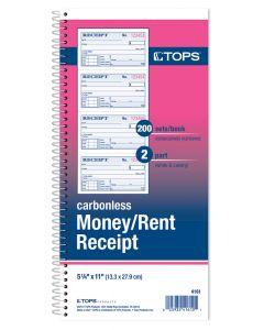 Money/Rent Receipt Book, 2-Part Carbonless, 4/page, 200 ST/BK