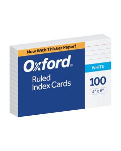 "Oxford® Ruled Index Cards, 4"" x 6"", White, 100 Per Pack"