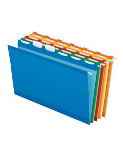 Pendaflex® Ready-Tab™ Reinforced Hanging Folders, Legal Size, Assorted Colors, 6 Tab, 25/BX