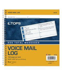 Voice Message Log Book, 2-sided, 1-Part, White, 8 MSG/PG, 50 SH/BK