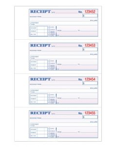 TOPS Money/Rent Receipt Book, 3-Part, Carbonless, 11 x 7-5/8 Inches, 4 Receipts/Page, 100 Sets per Book