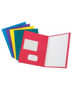 Oxford® Twin Pocket Folder with Fasteners, Letter, Assorted, 10PK