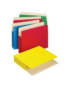 "Colored File Pockets, 3.5"", Assorted, Letter, 5/PK"