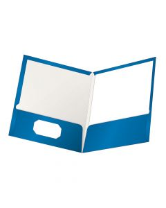 Oxford® ShowFolio Laminated Twin Pocket Folder, Letter Size, Blue