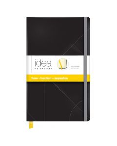 "Oxford® Idea Collective® Medium Hardcover Journal, 5"" x 8-1/4"", Legal Rule, Black Embossed Cover, 120 Sheets"