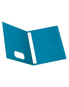 Oxford® Twin Pocket Folder with Fasteners, Light Blue