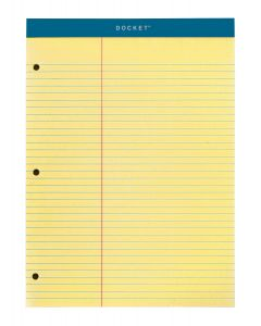 "Double Docket™ Writing Tablet with Extra Strong Back, 8-1/2"" x 11-3/4"", Perforated, 3HP, Canary, Law Rule, 100 SH/PD"